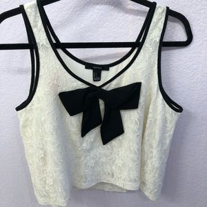 Floral Crop Tank Top with Bow